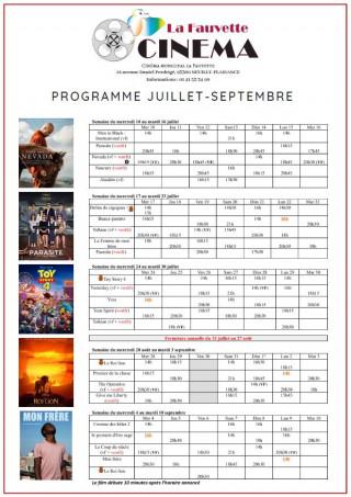 """Programme du cinéma municipal """"La Fauvette"""" du mois de juillet - septembre"""